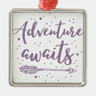 adventure awaits  in purple christmas ornament