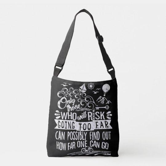 Adventure Awaits Life Quote Chalkboard Typography Crossbody Bag
