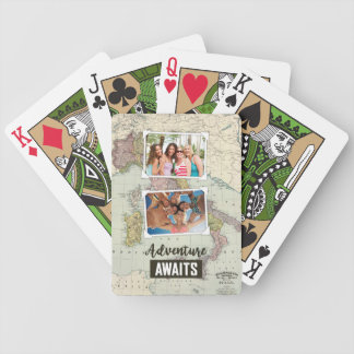 Adventure Awaits Map | Upload Your Own Photos Bicycle Playing Cards