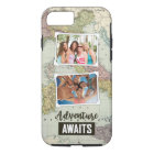 Adventure Awaits Map | Upload Your Own Photos iPhone 8/7 Case