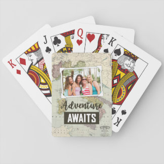 Adventure Awaits Map | Upload Your Own Photos Playing Cards