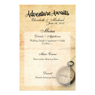 Adventure Awaits Menu Card