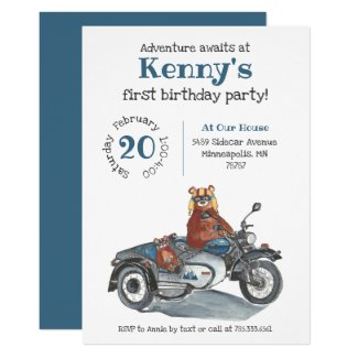Adventure Awaits Motorcycle Gray Blue Birthday Invitation