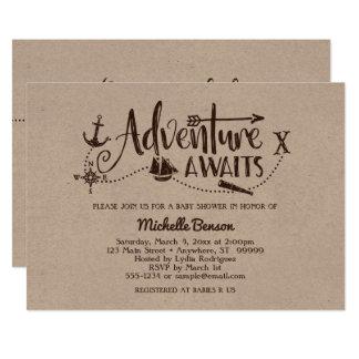 """""""Adventure Awaits"""" Nautical Baby Shower Invitation"""