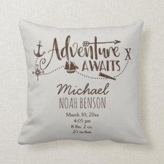 """Adventure Awaits"" Nautical Birth Stats Cushion"