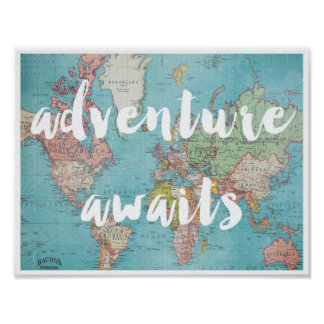 Adventure Awaits on Vintage World Map Poster
