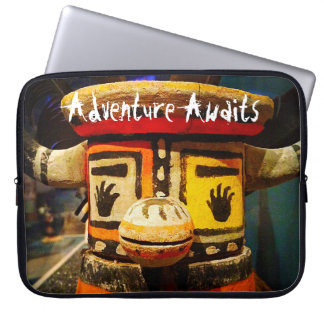 """""""Adventure Awaits"""" Quote Cute Funny Face Photo Laptop Sleeve"""