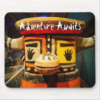 """Adventure Awaits"" Quote Cute Funny Face Photo Mouse Mat"