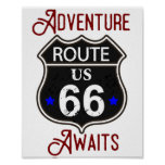 Adventure Awaits Route 66 Poster