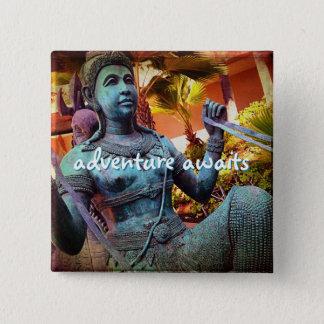 """Adventure awaits"" turquoise warrior statue photo 15 Cm Square Badge"