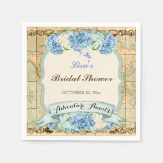 Adventure Awaits Vintage World Map Blue Hydrangeas Disposable Napkin