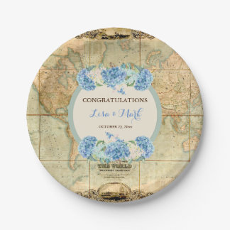 Adventure Awaits Vintage World Map Blue Hydrangeas Paper Plate