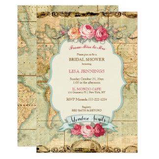 Adventure Awaits Vintage World Map Roses 13 Cm X 18 Cm Invitation Card