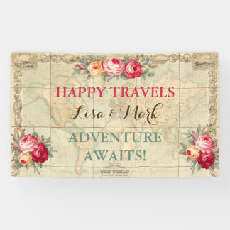 Adventure Awaits Vintage World Map Roses Banner