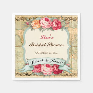 Adventure Awaits Vintage World Map Roses Disposable Napkin