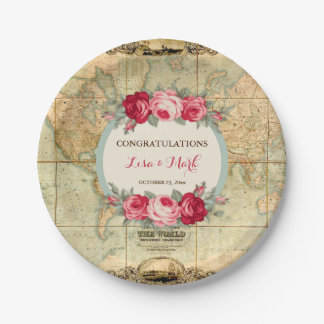 Adventure Awaits Vintage World Map Roses Paper Plate