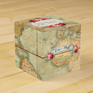 Adventure Awaits Vintage World Map Roses Wedding Favour Box
