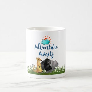 Adventure Awaits Watercolor Safari Jungle Animals Coffee Mug