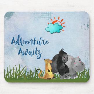 Adventure Awaits Watercolor Safari Jungle Animals Mouse Mat