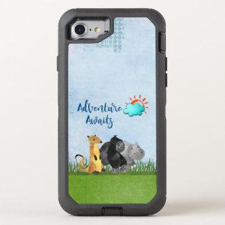 Adventure Awaits Watercolor Safari Jungle Animals OtterBox Defender iPhone 7 Case