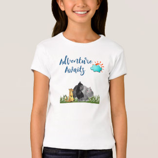 Adventure Awaits Watercolor Safari Jungle Animals T-Shirt