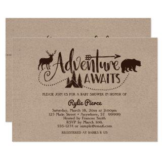 Adventure Awaits Wilderness Baby Shower Invitation