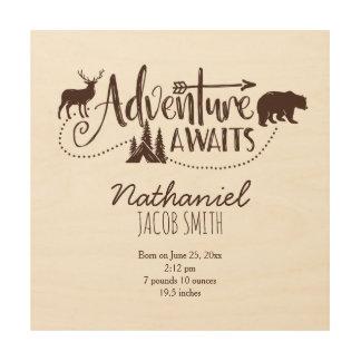 """Adventure Awaits"" Wilderness Nursery Birth Stats Wood Print"