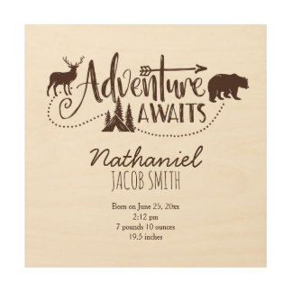 """Adventure Awaits"" Wilderness Nursery Birth Stats Wood Prints"