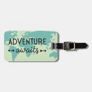 Adventure Awaits World Map Travel Bag Tags