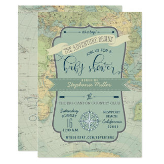Adventure Baby Boy Shower Invitations