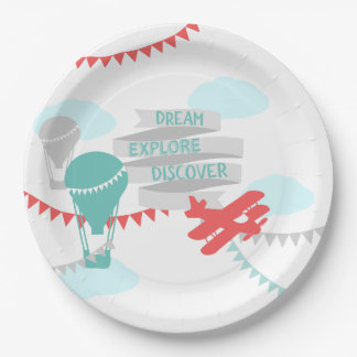 Adventure Baby Shower Airplane and Balloon Paper Plate
