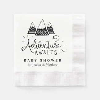 Adventure Baby Shower Napkins with Cute Mountains Paper Serviettes