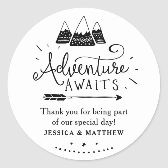 Adventure Baby Shower Stickers with Cute Mountains