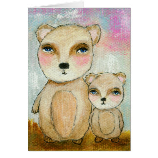 Adventure Day, Whimsical Woodland Bears Art Card