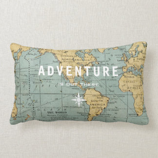 ADVENTURE IS OUT THERE VINTAGE MAP | CUSHION