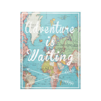 Adventure is Waiting Vintage World Map Canvas