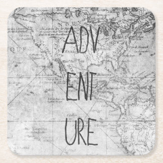 Adventure map square paper coaster