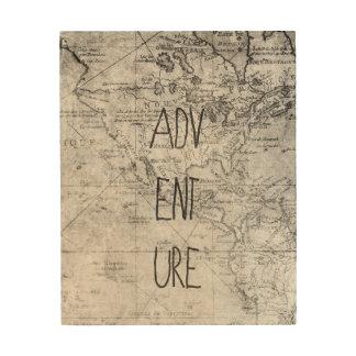 Adventure map wood wall decor