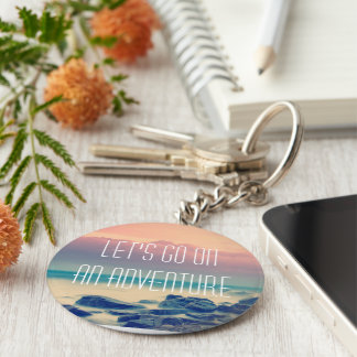 Adventure print basic round button key ring