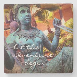 """Adventure"" Quote Asian Blue Warrior Statue Photo Stone Coaster"