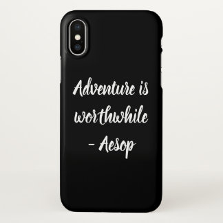 Adventure Quote Black and White iPhone Case