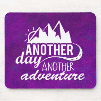 Adventure Quote - Mountains on Purple Background Mouse Pad