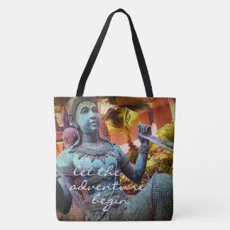 """Adventure"" quote turquoise warrior statue photo Tote Bag"