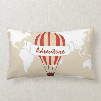 Adventure Red Hot Air Balloon & World Map Lumbar Cushion