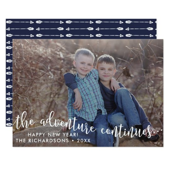 Adventure Script New Year Photo Card