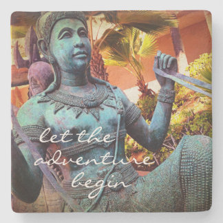 """Adventure"" turquoise warrior photo stone coaster"