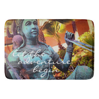 Adventure turquoise warrior statue photo bath mat bath mats