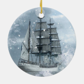 adventure winter snow storm vintage pirate ship christmas ornament