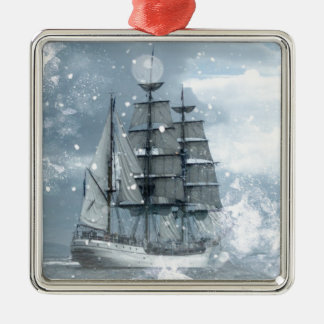 adventure winter snow storm vintage pirate ship Silver-Colored square decoration