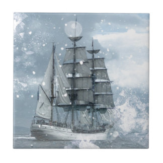 adventure winter snow storm vintage pirate ship tile